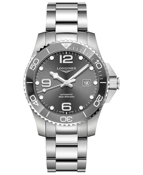 Longines Men's Swiss Automatic HydroConquest  Stainless Steel and Ceramic Bracelet Watch 43mm
