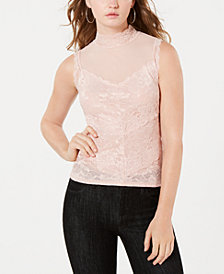 GUESS Mansfield Lace Mock-Neck Top