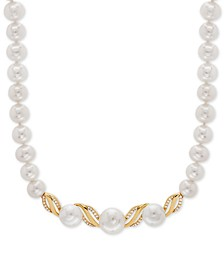 "White Cultured Freshwater Pearl (6 & 8-1/2mm) & Diamond (1/6 ct. t.w.) 17"" Collar Necklace in 14k Gold"