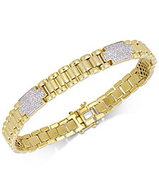 Men's Diamond Cluster Link Bracelet (1 ct. t.w.) in 18k Gold-Plated Sterling Silver