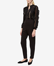 French Connection Lace & Ruffle Jumpsuit