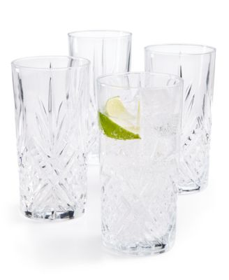 Set of 4 Cut-Glass High Ball Glasses, Created for Macy's