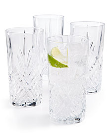 Martha Stewart Collection Set of 4 Cut-Glass High Ball Glasses, Created for Macy's