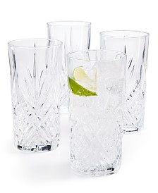 CLOSEOUT! Martha Stewart  Collection Set of 4 Cut-Glass High Ball Glasses, Created for Macy's