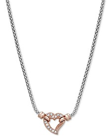 "Diamond Two-Tone Heart Pendant Necklace (1/8 ct. t.w.) in 14k Rose Gold-Plated Sterling Silver, 20"" + 3"" extender"