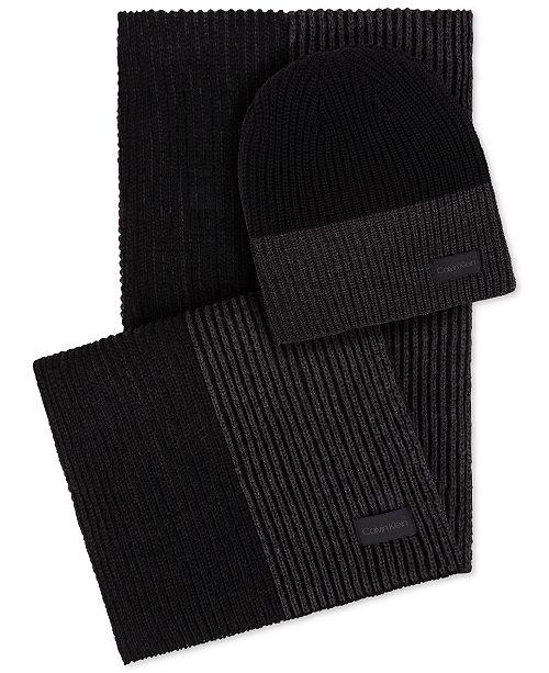 Calvin Klein Men s Colorblocked Hat   Scarf Set - Hats d9072aeb136