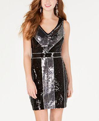 B Darlin Juniors' Geometric Sequin Bodycon Dress