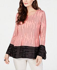 Alfani Contrast-Stripe Top, Created for Macy's