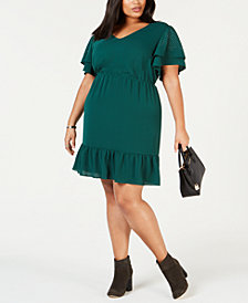 MICHAEL Michael Kors Plus Size Ruffled Dress