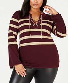MICHAEL Michael Kors Plus Size Split-Neck Striped Top