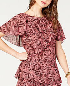 MICHAEL Michael Kors Printed Tiered Flounce Top, Created for Macy's, in Regular and Petite Sizes