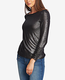 1.STATE Ruched-Cuff Shimmery Top