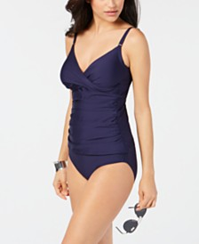 Calvin Klein Twist-Front Tankini Top & Shirred Hipster Bikini Bottoms