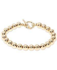 Lauren Ralph Lauren Gold-Tone Metal Bead Flex Bracelet