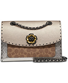 COACH Signature Border Rivets Metallic and Exotics Parker Shoulder Bag