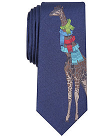 Bar III Men's Giraffe in Scarves Skinny Tie, Created for Macy's