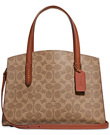 COACH Coated Canvas Signature Charlie 28 Satchel