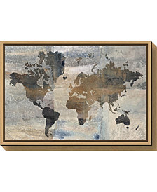 Amanti Art Stone World Map by Avery Tillmon Canvas Framed Art