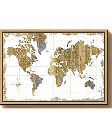 Amanti Art Gilded Map by Michael Mullan Canvas Framed Art