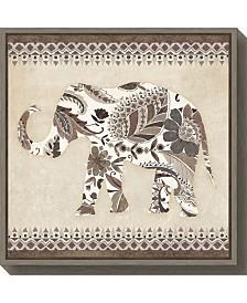 Amanti Art Boho Elephant II Neutral Canvas Framed Art