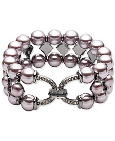Carolee Hematite-Tone Crystal & Imitation Pearl Triple-Row Stretch Bracelet