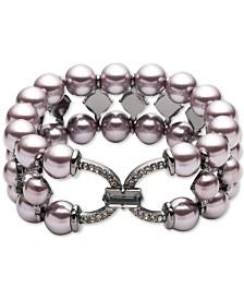 Carolee Hematite-Tone Crystal & Imitation Pearl Triple-Row Stretch Bracelet