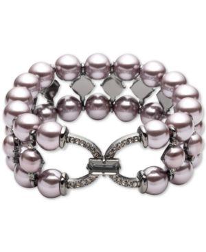 CAROLEE Hematite-Tone Crystal & Imitation Pearl Triple-Row Stretch Bracelet in Purple