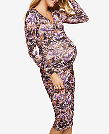 Jessica Simpson Maternity Ruched Printed Dress