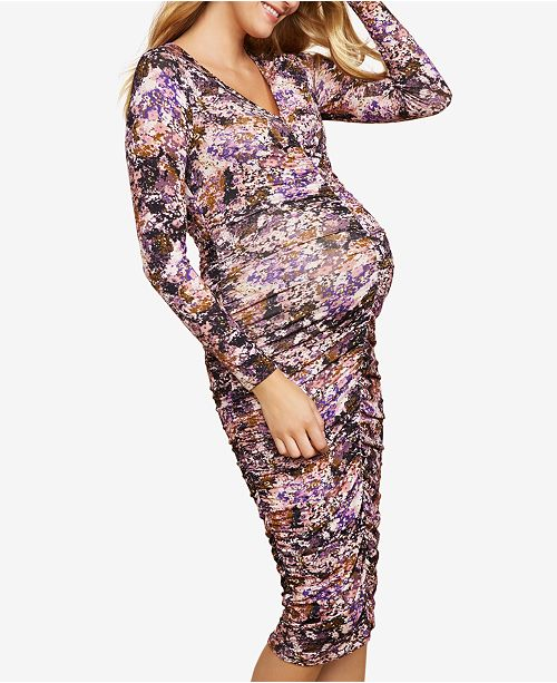 bcc34ff99be Jessica Simpson Maternity Ruched Printed Dress   Reviews - Maternity ...