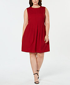 Anne Klein Plus Size Dot-Print Pleated Dress