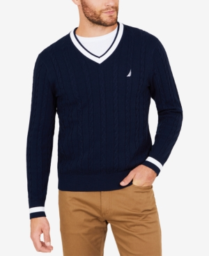 1920s Mens Sweaters, Pullovers, Cardigans Nautica Mens Cable-Knit Tipped Sweater $29.99 AT vintagedancer.com
