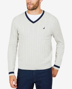 Edwardian Men's Shirts & Sweaters Nautica Mens Cable-Knit Tipped Sweater $29.99 AT vintagedancer.com