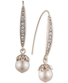 Pavé & Imitation Pearl Drop Earrings