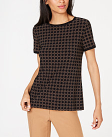 Anne Klein Bistro Printed Button-Back Blouse