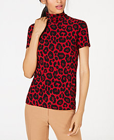 Anne Klein Mock-Neck Animal-Print Top