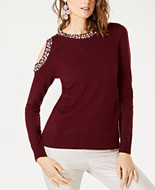 I.N.C. Embellished Cold-Shoulder Sweater, Created for Macy's