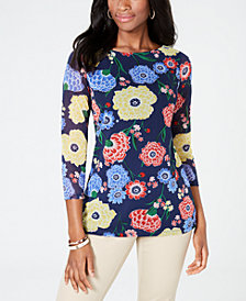 Charter Club Petite Floral Mesh Top, Created for Macy's