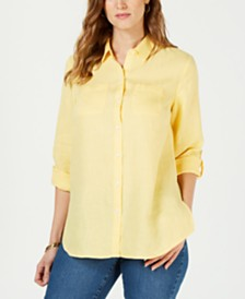 Charter Club Linen Utility Shirt, Created for Macy's