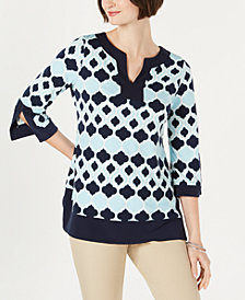 Charter Club Geo-Print Contrast-Trim Tunic Top, Created for Macy's