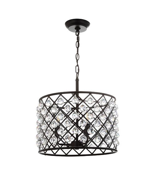 """JONATHAN Y Gabrielle 16"""" Crystal,Metal LED Pendant Oil-Rubbed"""