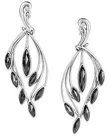 Carolyn Pollack Black Spinel Cascading Earrings in Sterling Silver