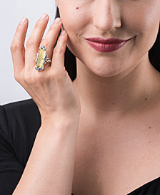 Carolyn Pollack Lemon Quartz Faceted Baguette Ring