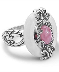 Rhodochrosite and White Agate Ring in Sterling Silver