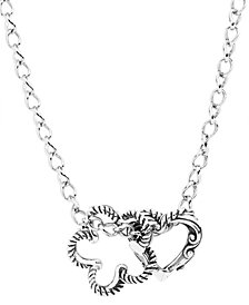 Carolyn Pollack Heart and Flower Sterling Silver Necklace