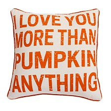 "Thro Polyester Fill I Love You More Than Pumpkin Anything Haze Faux Linen Pillow, 20"" x 20"""