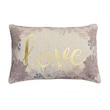"Polyester Fill Lynette Love Foil Printed Flash Faux Linen Pillow, 14"" x 22"""