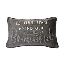 "Thro Polyester Fill Barb Be Your Own Emb Studded Barbara Velvet Pillow, 12"" x 20"""