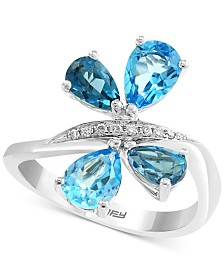 EFFY® Blue Topaz (2-5/8 ct. t.w.) & Diamond Accent Ring in 14k White Gold