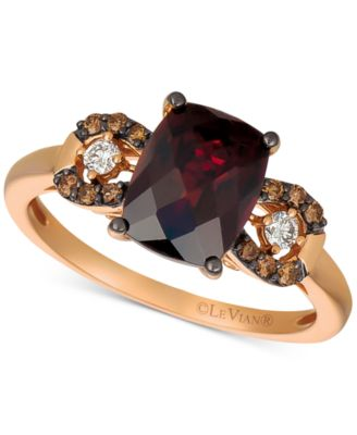 Gemstone & Diamond Ring in 14k Rose Gold or 14k Yellow Gold