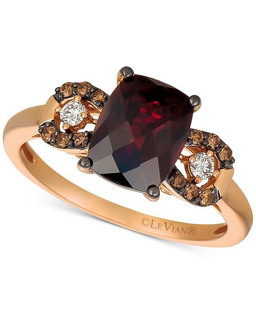 Le Vian Pomegranate Garnet (2-3/4 ct. t.w.) & Chocolate and Vanilla Diamond (1/5 ct. t.w.) Ring in 14k Rose Gold (Also Available in Blueberry Zircon & Peach Morganite)
